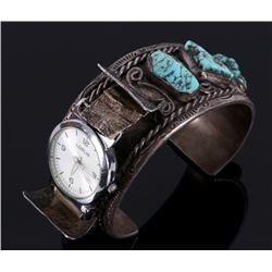 Navajo Sterling & Lone Mountain Watch Bracelet