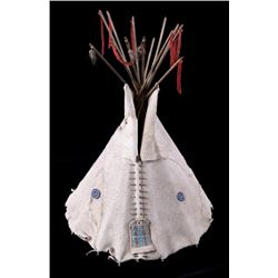 Sioux Beaded Model Tipi with Frame 19th Century
