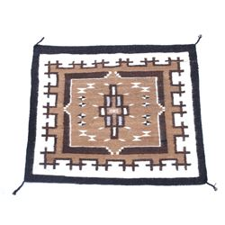 Navajo Two Grey Hills Wool Rug 1950's Original Tag