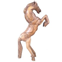 Early 1900's Hand Carved Saddled Horse Statue
