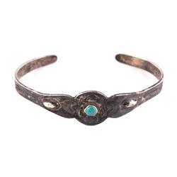 Fred Harvey Navajo Turquoise & Silver Bracelet