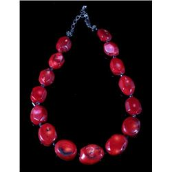 Large Beaded Ox Blood Coral Necklace
