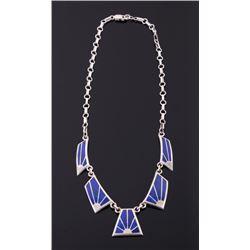 Navajo Inlaid Lapis Lazuli & Sterling Necklace