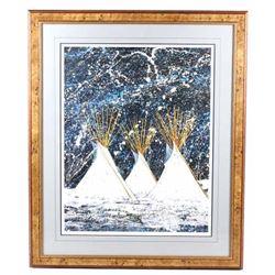 Kevin Red Star Custom Framed Tipi Painting