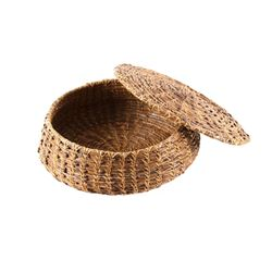 Inuit Eskimo Pine Needle Lidded Basket c 1940-1950