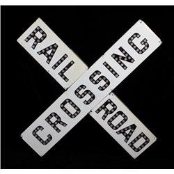 Early Porcelain Enamel Railroad Crossing Sign
