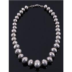 Navajo Graduated Silver Concho Bead Necklace