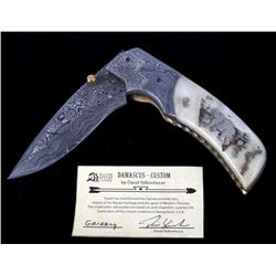 Navajo Yellowhorse Damascus Silver Grizzly Knife