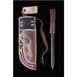 Pawnee Beaded Sheath & Stag Horn Knife c.1860-1870