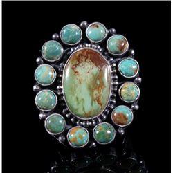 Signed Navajo Silver & King Manassa Turquoise Ring
