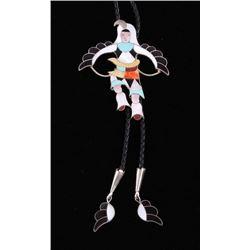 Zuni Inlaid Eagle Kachina Dancer Bolo Tie