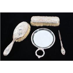 1800s Sterling Silver Embossed Woman's Vanity Set