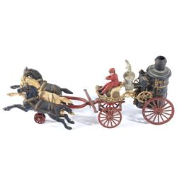 Hubley Cast Iron 3-Horse Fire Pumper Wagon Toy