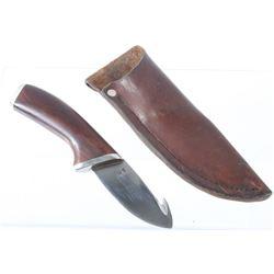 Wood Handled Skinning Knife with Gut Hook & Sheath