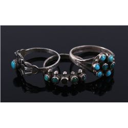 Fred Harvey Navajo Turquoise & Silver Rings