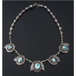 Signed Navajo Turquoise and Silver Necklace