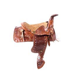 Western Slick Fork Salesman Sample Saddle 1900's
