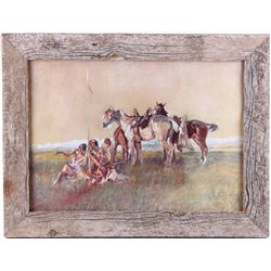 Indian Warband Charles Russell Framed Print