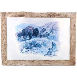 """""""Stalking The Herd"""" Charles Russell Framed Print"""