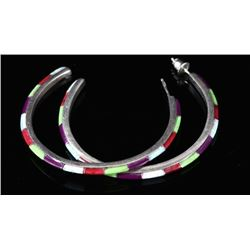 Navajo Sterling Silver & Multi-Stone Earrings