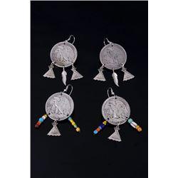 Two Pair of Half Dollar Walking Liberty Earrings