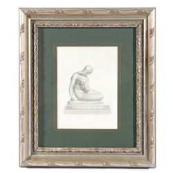 Eve At The Fountain Stipple Engraved Framed Print