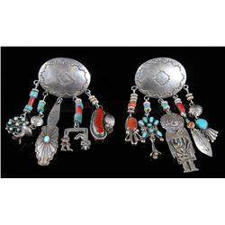 Navajo Sterling Silver Turquoise & Coral Earrings
