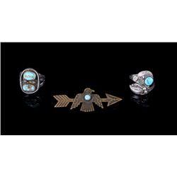 Navajo Sterling Silver Rings & Thunderbird Pin