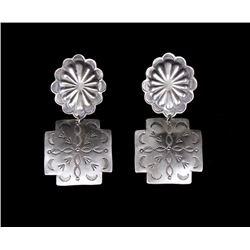 Navajo Native American Sterling Silver Earrings