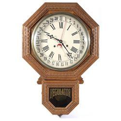 Oak Regulator Wall Clock with Calendar c. 1970's