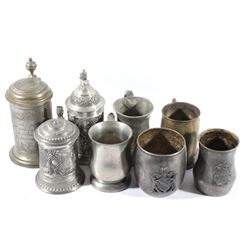 Traditional Pewter Mugs and German Steins