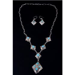 Set of Silver & Turquoise Necklace & Earrings