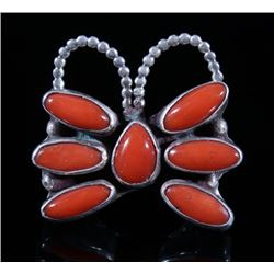 Signed Navajo Sterling Silver & Coral Ring