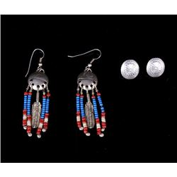 Set of Plains Indian Trade Seed & Concho Earrings