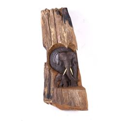 Carved Teakwood Elephant Mother and Calf Statue