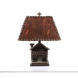 Rustic Folk Art Cabin Table Lamp