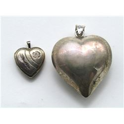 2-STERLNG HEART PENDANTS (1)WITH ENGRAVED