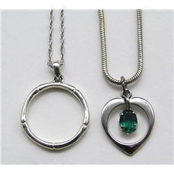 2-STERLING NECKLACES WITH PENDANTS