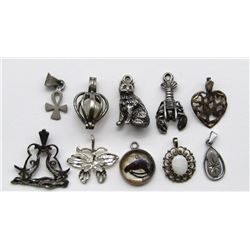 10-STERLING PENDANTS/CHARMS