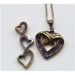 STERLING CHAIN WITH (2)HEART PENDANTS