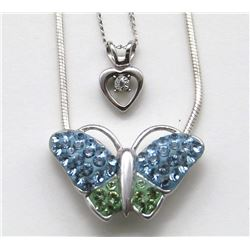 2-STERLING NECKLACES: (1)WITH BUTTERFLY