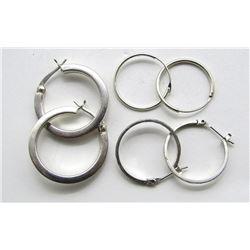 3-PAIRS OF STERLING HOOP EARRINGS