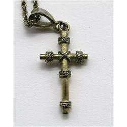 ANTIQUE GOLD TONED STERLING CHAIN WITH CROSS
