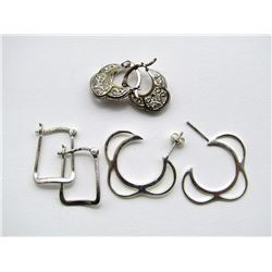 3-PAIRS OF STERLING HOOP EARRINGS