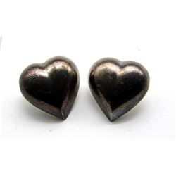 ANTIQUE STERLING HEART EARRINGS
