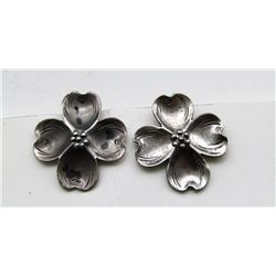 ANTIQUE STERLING CLIP ON FLOWER EARRINGS