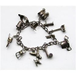 ANTIQUE STERLING CHARM BRACELET WITH (12)