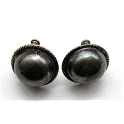 ANTIQUE STERLING CLIP ON EARRINGS