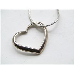 STERLING NECKLACE WITH HEART PENDANT