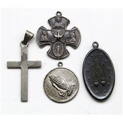 4-ANTIQUE STERLING RELIGIOUS PENDANTS